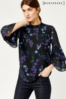Warehouse Black Gilly Floral Double Flute Top