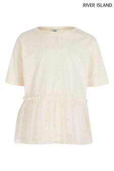 River Island Cream Peplum Mesh T-Shirt
