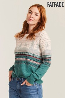 FatFace Green Scenic Novelty Jumper