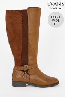 Evans Extra Wide Fit Brown Cross Strap Rider Boots