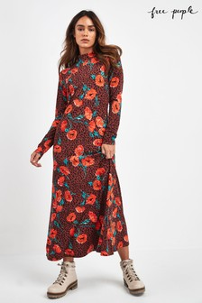 Free People Red Retro Romance Midi Dress