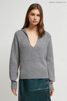 French Connection Grey Faya Rib Knits V-Neck Jumper