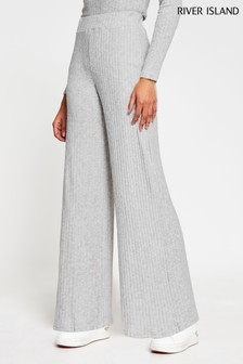 River Island Grey Wide Leg Ribbed Trousers