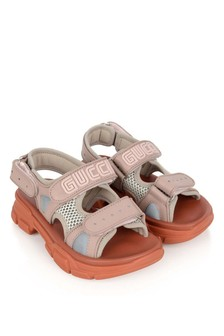 Girls Sandals Pink Leather & Mesh Sandals