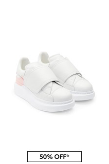 Girls White 100% Leather Trainers