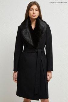 Czarny długi płaszcz French Connection Carmelita Plat Flt z kołnierzem ze sztucznego futra