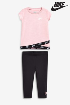 Nike Infant Pink/Black Futura T-Shirt And Legging Set