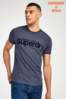 Superdry Blue Faux Suede T-Shirt