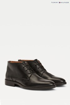 Tommy Hilfiger Black Essential Leather Boots