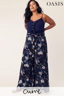 Oasis Blue Curve Wide Leg Trouser