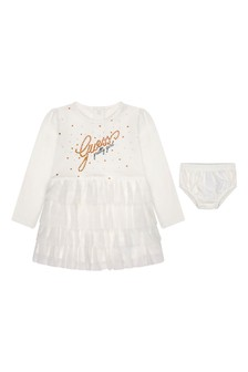 Baby Girls Ivory Cotton Dress With Knickers