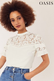 Oasis White Lace Tiered Sleeve Top