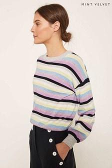 Mint Velvet Multi Stripe Balloon Sleeve Knit