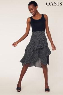 Oasis Black Lilly Spot Ruffle Skirt