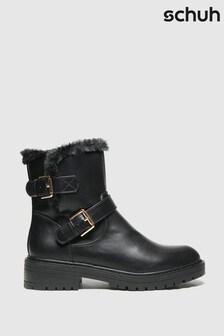 Schuh Black Aubrey Faux Fur Biker Boots