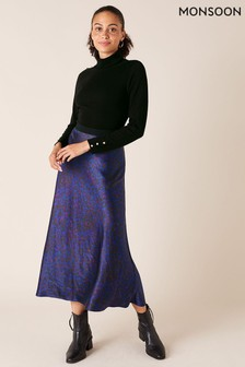 Monsoon Blue Animal Print Satin Skirt