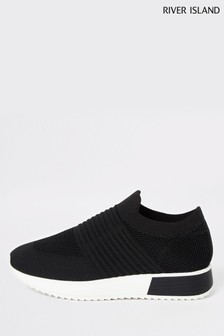 River Island Black Rogan Knitted Runner Trainers