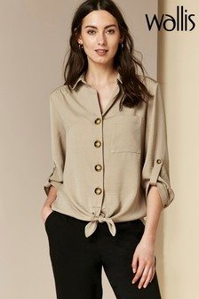 Wallis Natural Button Front Linen Look Shirt