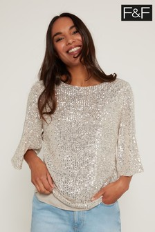 F&F Neutral Sequin Sleeve Top