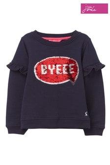 Joules Blue Tiana Frill Sleeve Sweatshirt