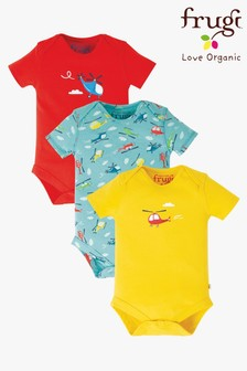 Frugi GOTS Organic Bodysuits In Helicopter Design Three Pack