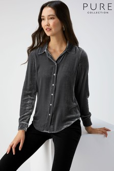 Pure Collection Grey Silk Velvet Shirt