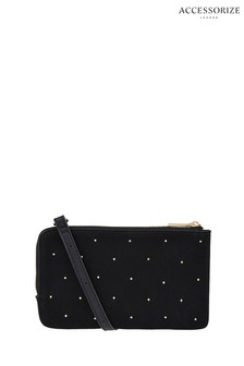 Accessorize Black Studded Double Zip Cross Body Bag