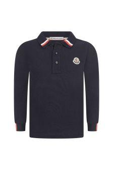 Moncler Enfant Boys Navy Pique Cotton Polo Top