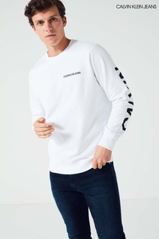 Biała bluza z logo Calvin Klein Jeans Institutional