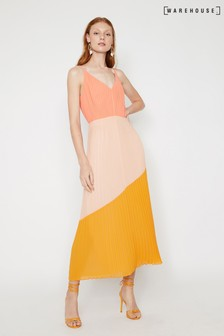 Warehouse Colourblock Pleated Dress