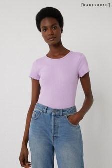 Warehouse Purple Rib Lettuce Edge T-Shirt
