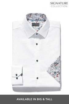 Signature Contrast Trim Shirt And Pocket Square Set