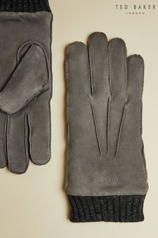Ted Baker Grey Ladd Suede Cuffed Gloves