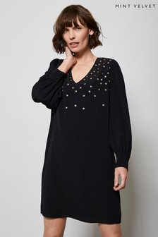 Mint Velvet Black Embellished Mini Dress