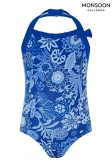 Monsoon Blue Flower Print Halter Swimsuit