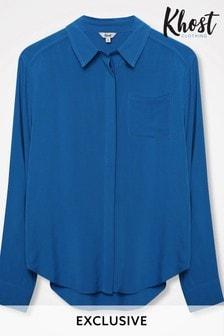 Khost Blue Plain Button Shirt