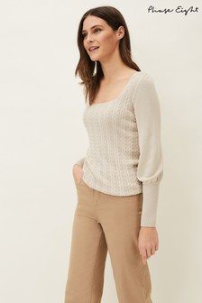 Phase Eight Neutral Lucca Square Neck Cable Knit Jumper