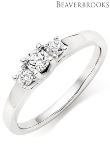 Beaverbrooks 9ct White Gold Three Stone Diamond Ring