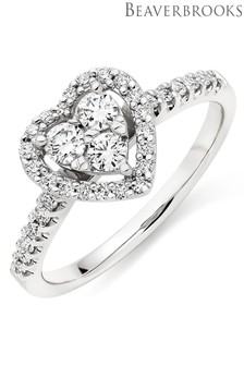 Beaverbrooks 9ct White Gold Diamond Heart Ring
