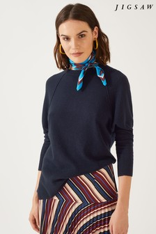 Jigsaw Navy Button Back Batwing Jumper
