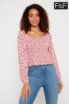 F&F Pink Square Neck Ditsy Blouse