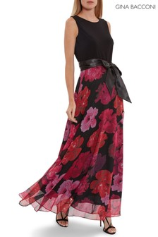 Gina Bacconi Black Arella Jersey And Floral Maxi Dress