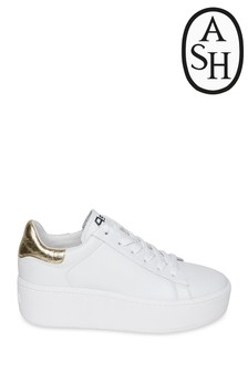 Ash Cult White And Gold Trainers