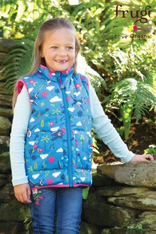 Frugi Gilet In Pink And Car Print