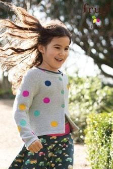 Frugi Organic Knitted Grey Bright Spot Cardigan