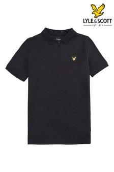 Lyle & Scott Boys Black Zip Detail Polo Shirt
