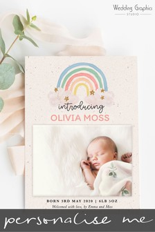 10 Pack Personalised Rainbow Birth Announcement Magnets And Cards by Wedding Graphics