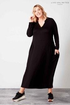 فستان قميص أسود متوط الطول منLive Unlimited
