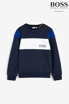 BOSS Navy Colourblock Sweatshirt