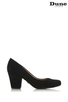 Dune London Black Suede Anthena Block Heel Round Toe Court Shoes